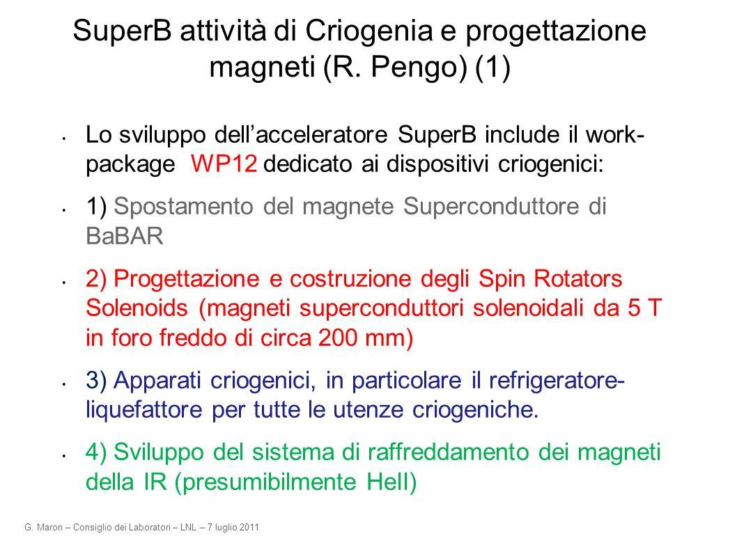G. Maron – Consiglio dei Laboratori – LNL – 7 luglio 2011 SuperB attività di Criogenia e progettazione magneti (R. Pengo) (1) Lo sviluppo dellaccelera