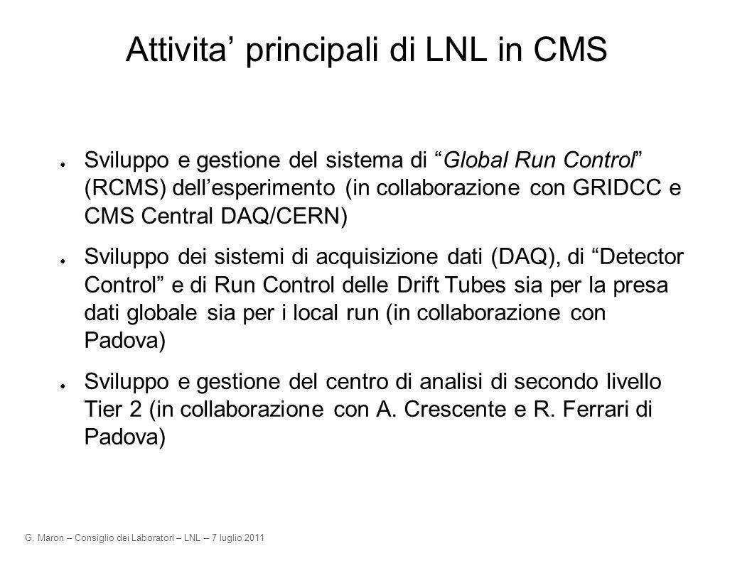 G. Maron – Consiglio dei Laboratori – LNL – 7 luglio 2011 Attivita principali di LNL in CMS Sviluppo e gestione del sistema di Global Run Control (RCM