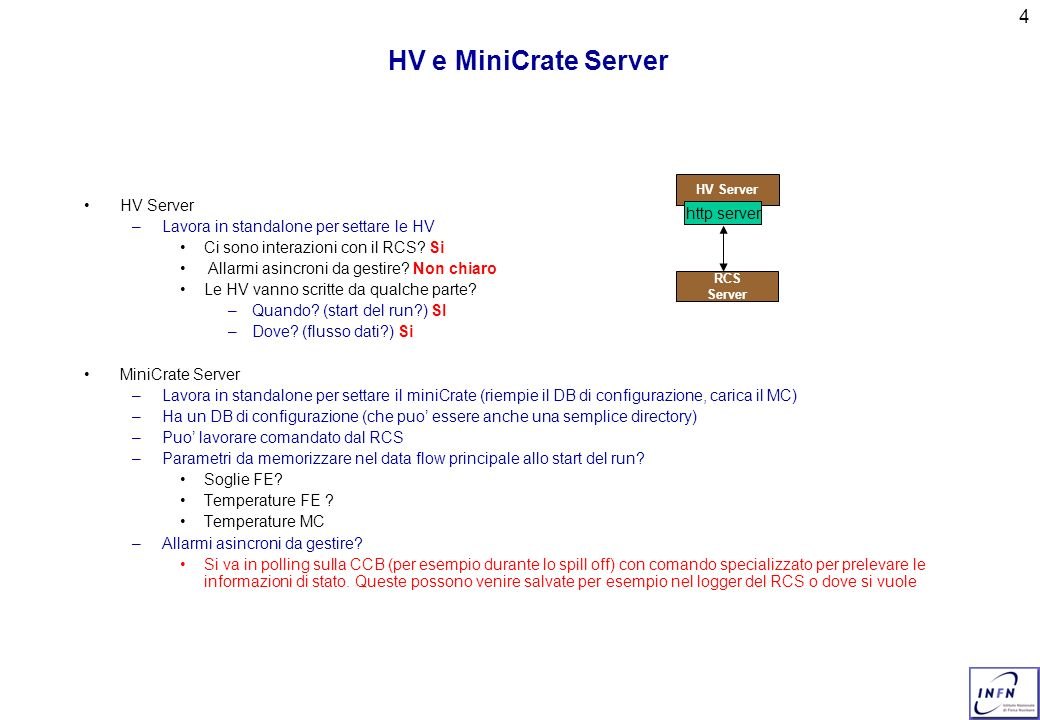 4 HV e MiniCrate Server HV Server –Lavora in standalone per settare le HV Ci sono interazioni con il RCS.