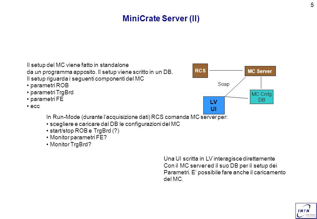5 MiniCrate Server (II) In Run-Mode (durante lacquisizione dati) RCS comanda MC server per: scegliere e caricare dal DB le configurazioni del MC start/stop ROB e TrgBrd (?) Monitor parametri FE.