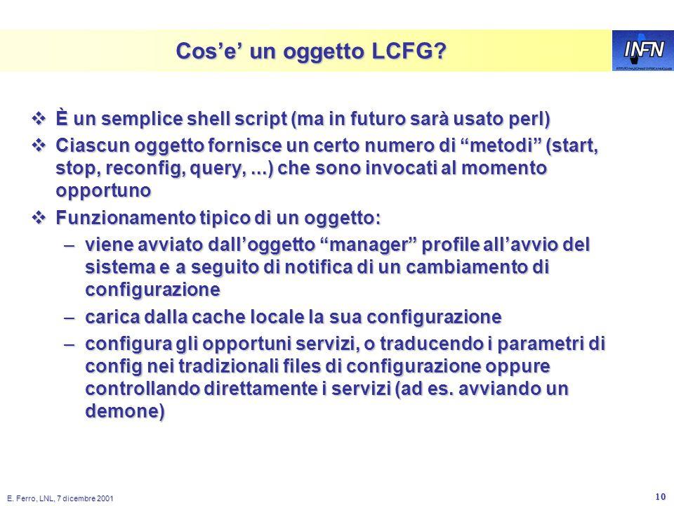 E. Ferro, LNL, 7 dicembre 2001 9 Client nodes Web Server HTTP XML Profile LCFG Config Files Make XML Profile Server Profile Read Profile LCFG Objects