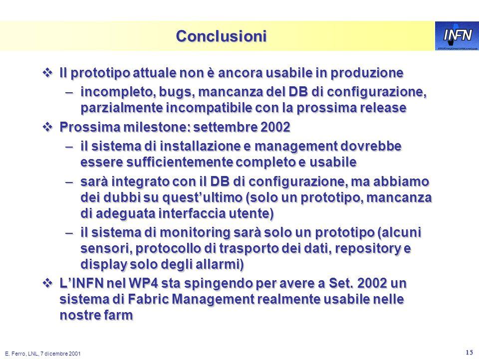 E. Ferro, LNL, 7 dicembre 2001 14 Generic Component Profile Object rdxprof Read Profile LCFG Objects Local cache LCFG: sviluppo futuro in WP4 Client n