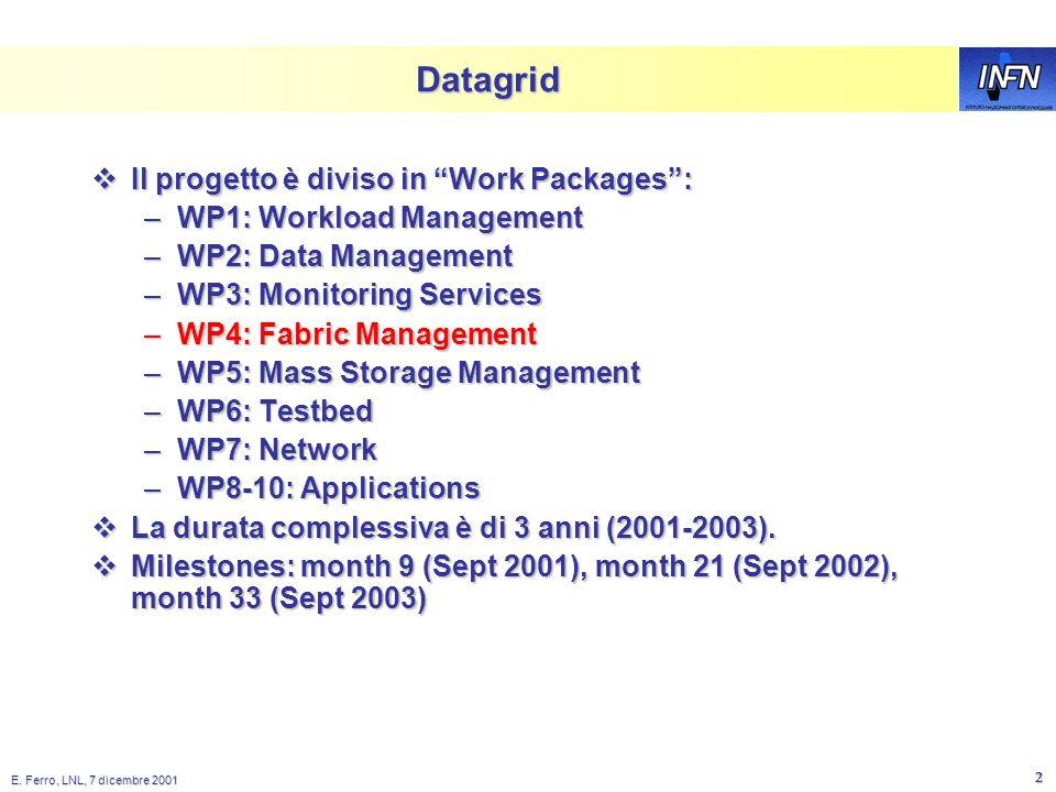E. Ferro, LNL, 7 dicembre 2001 1 DataGRID overview + WP4 Installation Enrico Ferro INFN-LNL