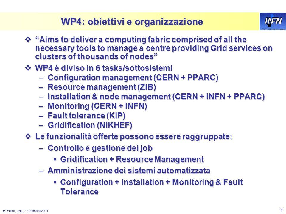 E. Ferro, LNL, 7 dicembre 2001 2 Datagrid Il progetto è diviso in Work Packages: Il progetto è diviso in Work Packages: –WP1: Workload Management –WP2