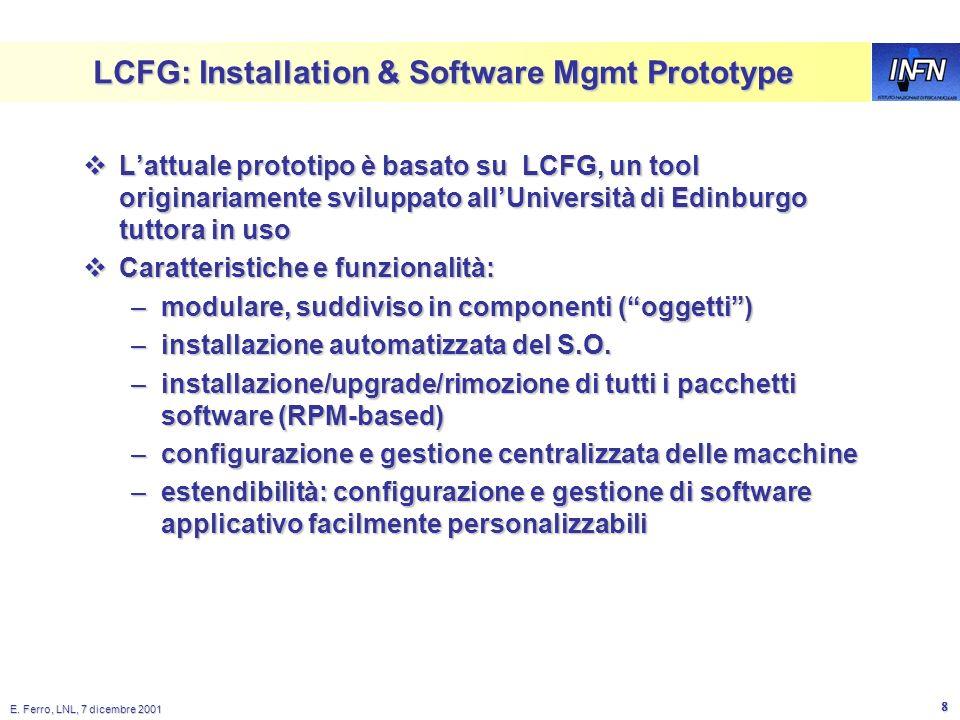 E. Ferro, LNL, 7 dicembre 2001 7 Installation Management diagram Node Management Agent - manages installation, upgrade, removal and configuration of s