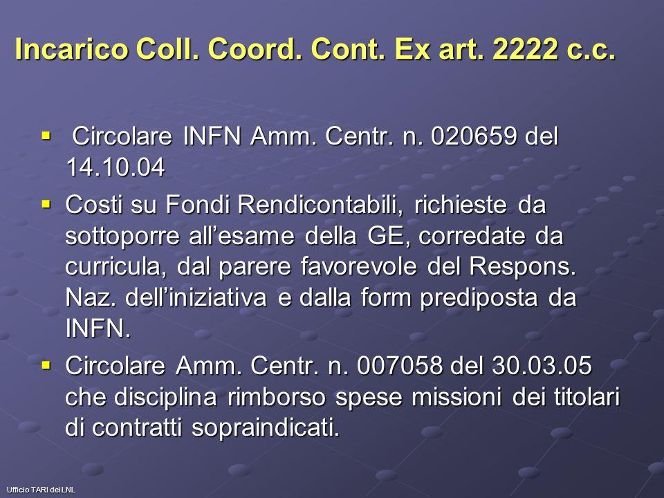 Ufficio TARI dei LNL Incarico Coll. Coord. Cont.