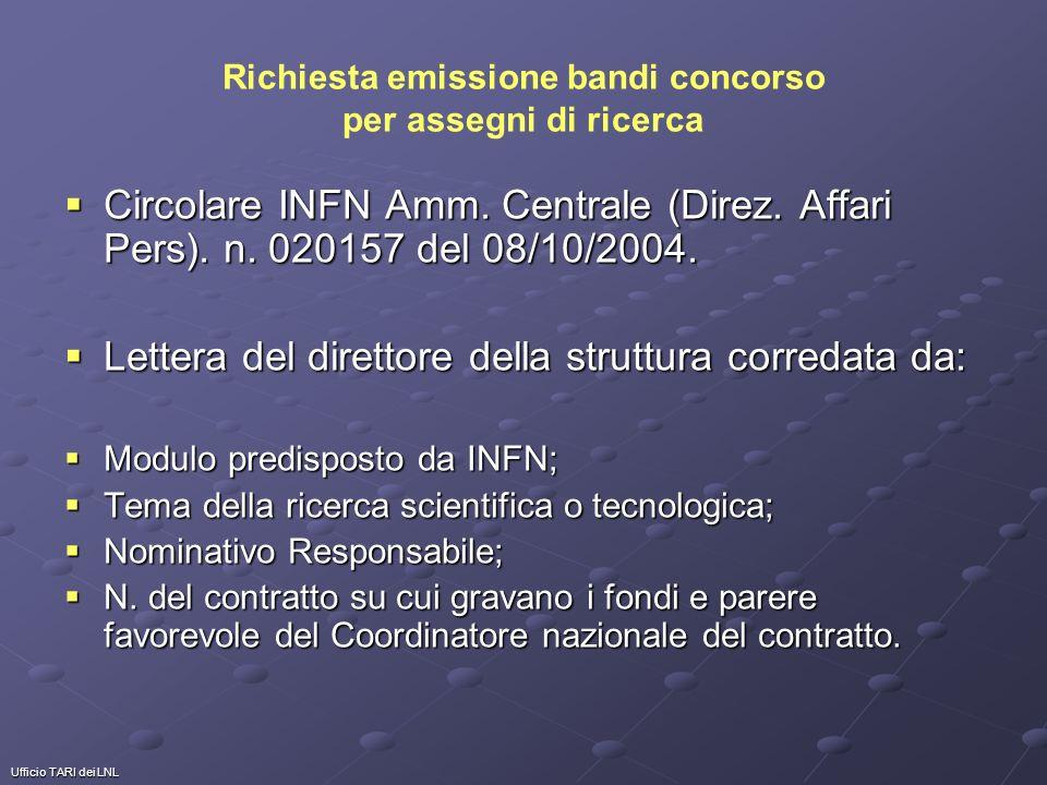Ufficio TARI dei LNL Richiesta emissione bandi concorso per assegni di ricerca Circolare INFN Amm. Centrale (Direz. Affari Pers). n. 020157 del 08/10/