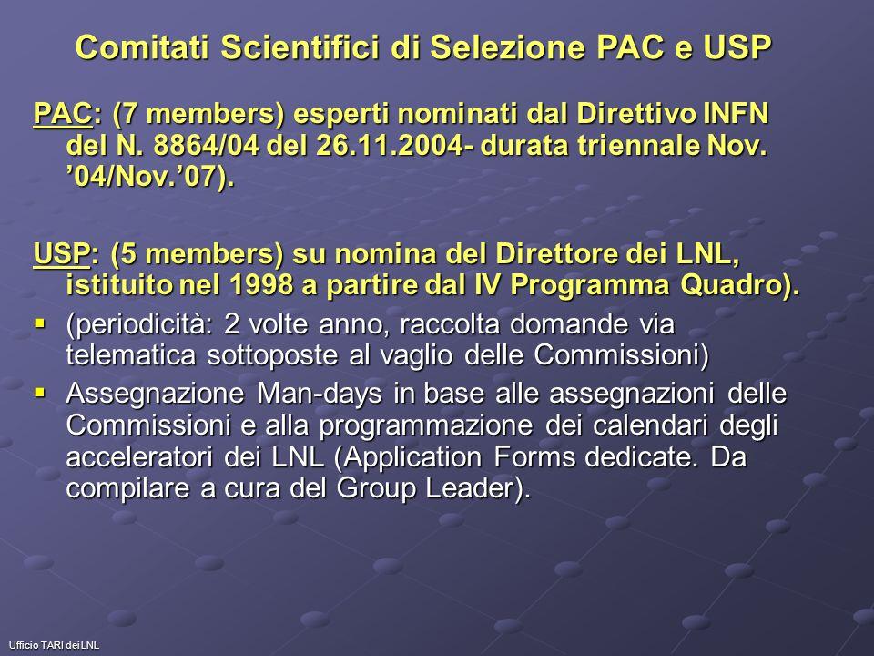 Ufficio TARI dei LNL PAC: (7 members) esperti nominati dal Direttivo INFN del N. 8864/04 del 26.11.2004- durata triennale Nov. 04/Nov.07). USP: (5 mem