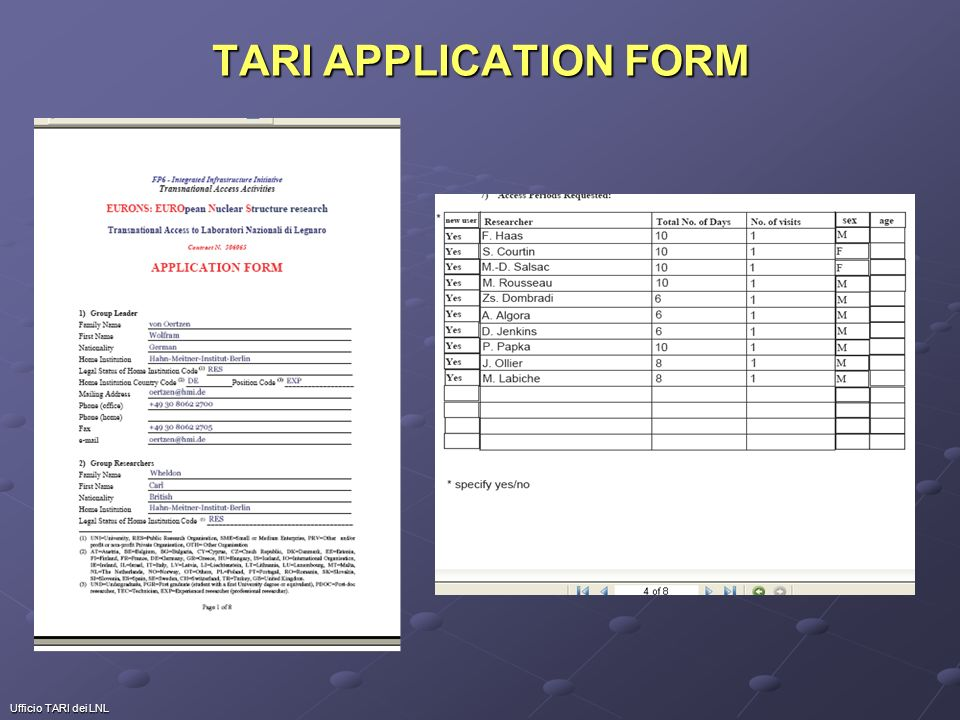 Ufficio TARI dei LNL TARI APPLICATION FORM