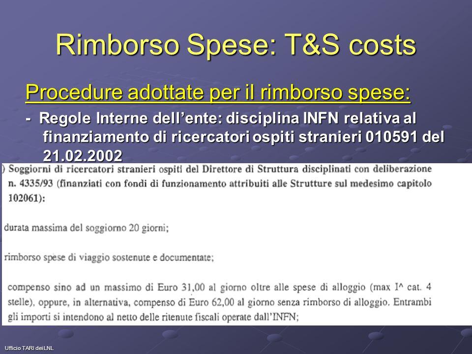 Ufficio TARI dei LNL Rimborso Spese: T&S costs Procedure adottate per il rimborso spese: - Regole Interne dellente: disciplina INFN relativa al finanziamento di ricercatori ospiti stranieri 010591 del 21.02.2002