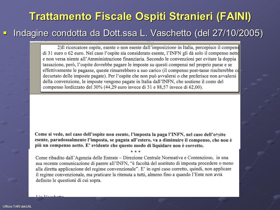 Ufficio TARI dei LNL Trattamento Fiscale Ospiti Stranieri (FAINI) Indagine condotta da Dott.ssa L. Vaschetto (del 27/10/2005) Indagine condotta da Dot