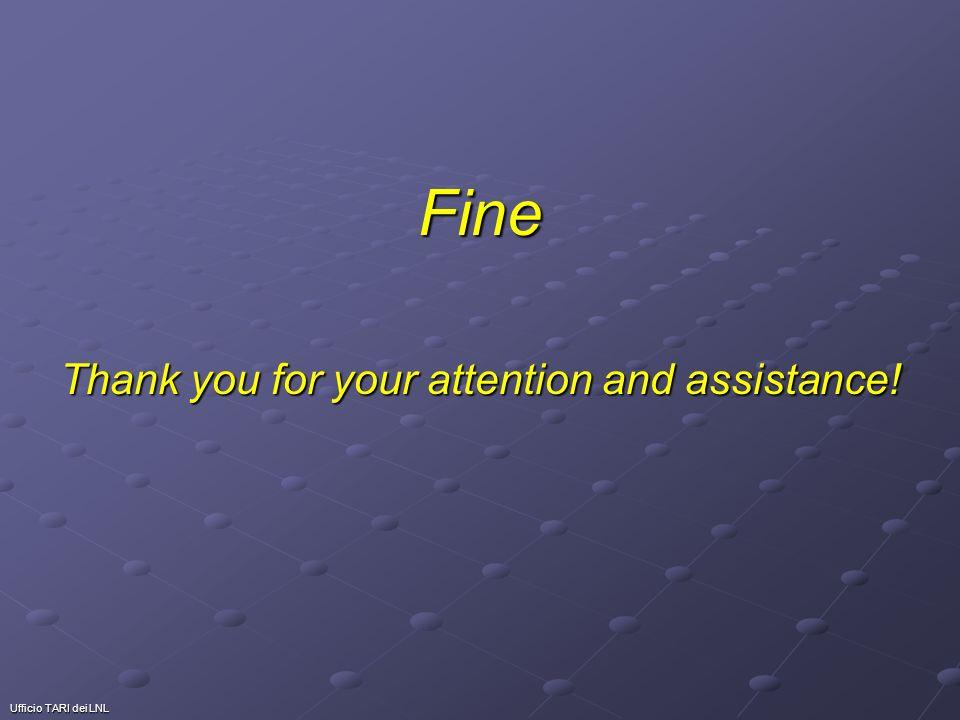Ufficio TARI dei LNL Fine Thank you for your attention and assistance!