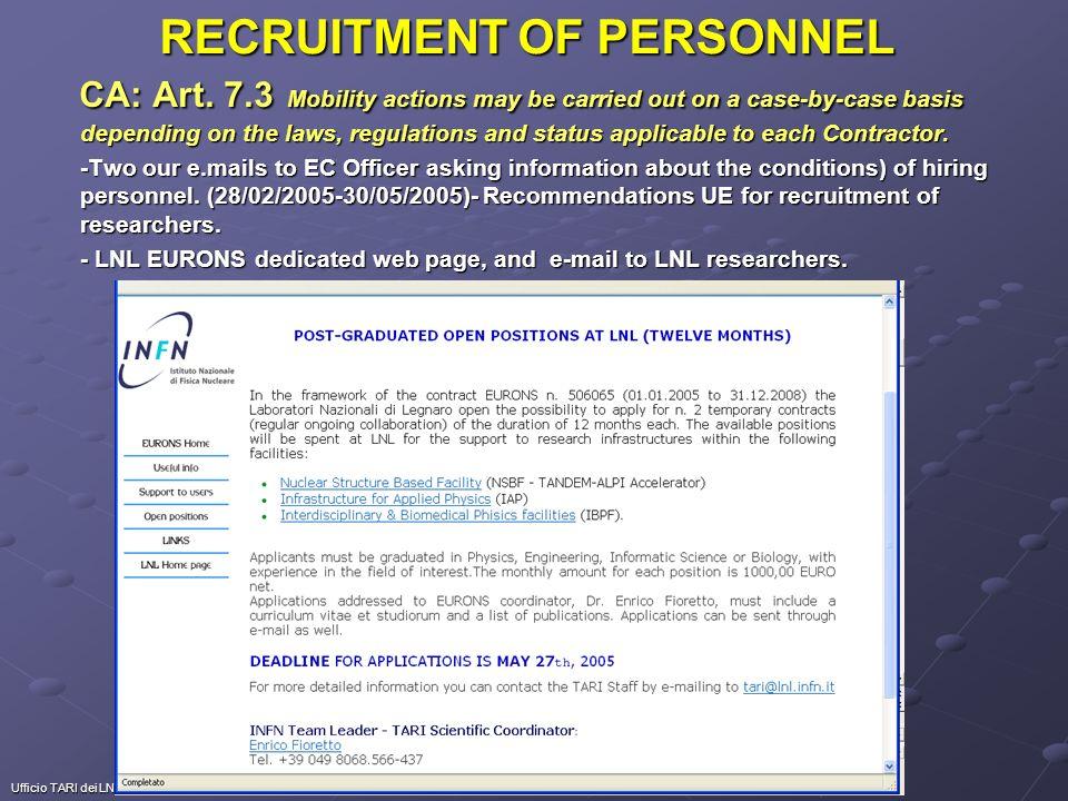 Ufficio TARI dei LNL RECRUITMENT OF PERSONNEL PERSONNEL HIRED UNDER ACCESS FUNDS at LNL: n.