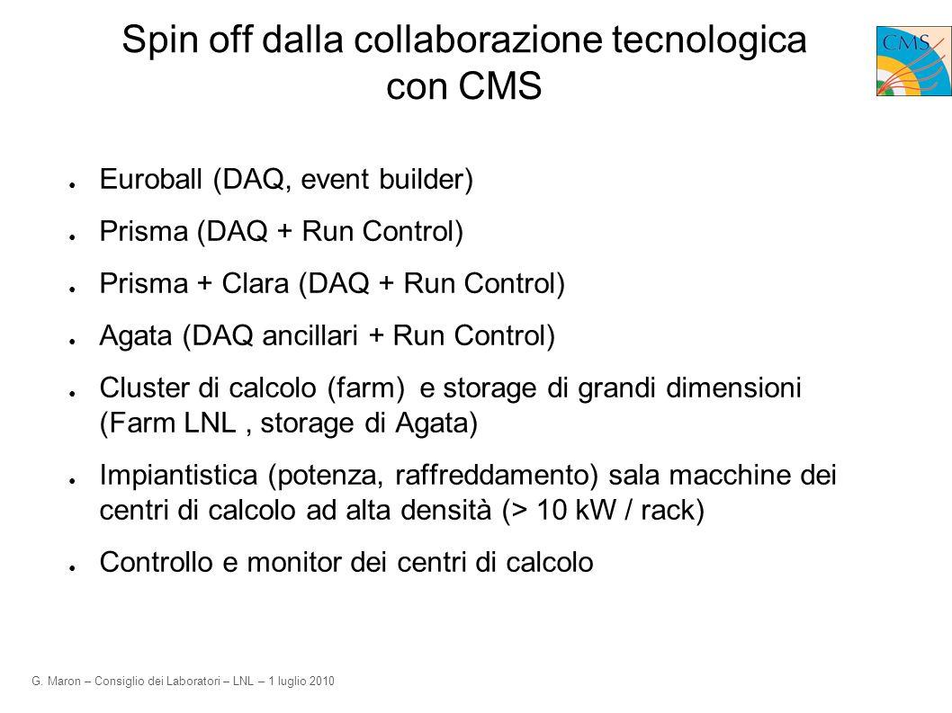 G. Maron – Consiglio dei Laboratori – LNL – 1 luglio 2010 Spin off dalla collaborazione tecnologica con CMS Euroball (DAQ, event builder) Prisma (DAQ