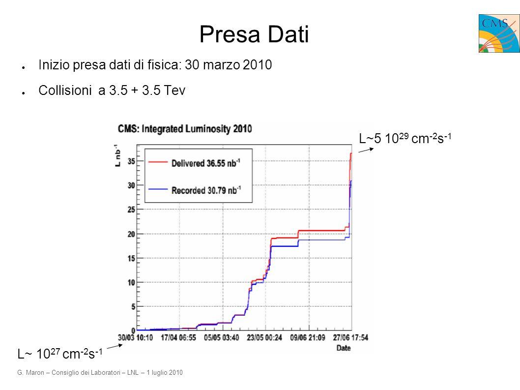 G. Maron – Consiglio dei Laboratori – LNL – 1 luglio 2010 Presa Dati Inizio presa dati di fisica: 30 marzo 2010 Collisioni a 3.5 + 3.5 Tev L~5 10 29 c