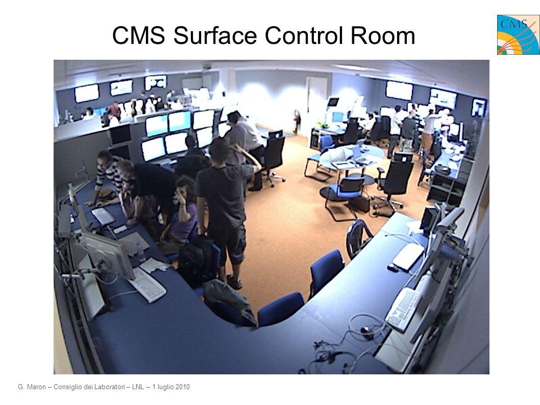 G. Maron – Consiglio dei Laboratori – LNL – 1 luglio 2010 CMS Surface Control Room