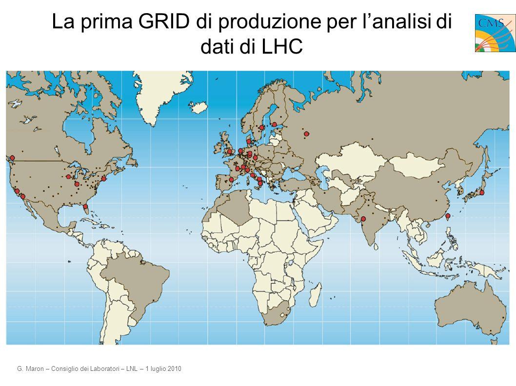 G. Maron – Consiglio dei Laboratori – LNL – 1 luglio 2010 La prima GRID di produzione per lanalisi di dati di LHC