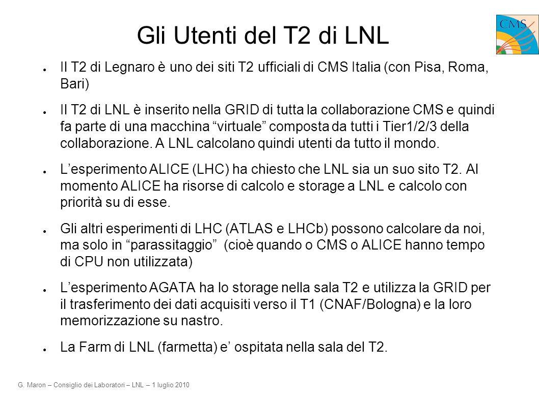 G. Maron – Consiglio dei Laboratori – LNL – 1 luglio 2010 Gli Utenti del T2 di LNL Il T2 di Legnaro è uno dei siti T2 ufficiali di CMS Italia (con Pis