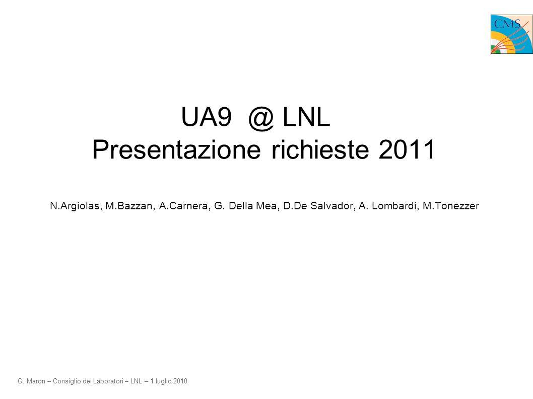 G. Maron – Consiglio dei Laboratori – LNL – 1 luglio 2010 UA9 @ LNL Presentazione richieste 2011 N.Argiolas, M.Bazzan, A.Carnera, G. Della Mea, D.De S