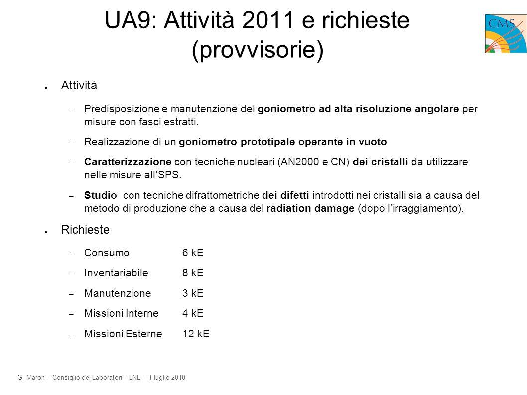 G. Maron – Consiglio dei Laboratori – LNL – 1 luglio 2010 UA9: Attività 2011 e richieste (provvisorie) Attività – Predisposizione e manutenzione del g