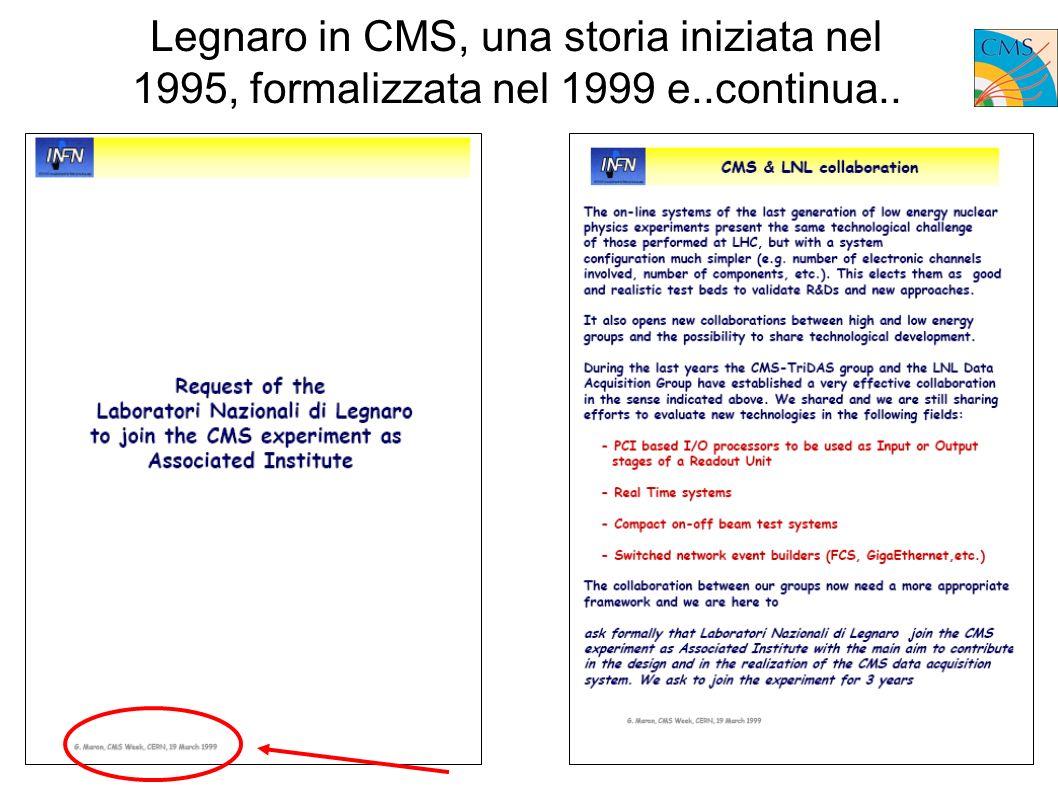Legnaro in CMS, una storia iniziata nel 1995, formalizzata nel 1999 e..continua..
