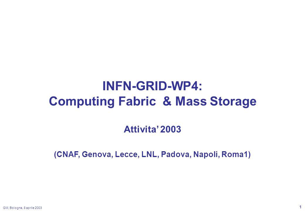 GM, Bologna, 8 aprile 2003 2 WP Breakdown Fabric Design –lattivita del 2003 e focalizzata sulle tecniche di storage di una farm con un numero elevato di nodi.