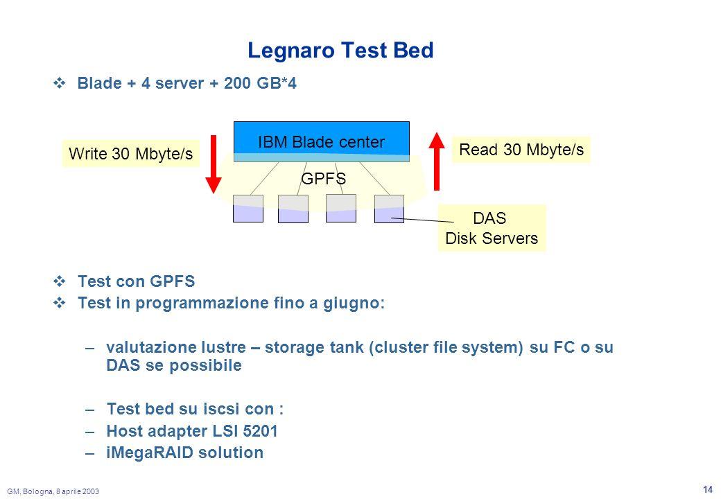 GM, Bologna, 8 aprile 2003 14 Legnaro Test Bed Blade + 4 server + 200 GB*4 Test con GPFS Test in programmazione fino a giugno: –valutazione lustre – storage tank (cluster file system) su FC o su DAS se possibile –Test bed su iscsi con : –Host adapter LSI 5201 –iMegaRAID solution IBM Blade center GPFS Write 30 Mbyte/s Read 30 Mbyte/s DAS Disk Servers