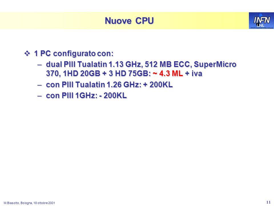 LNL M.Biasotto, Bologna, 18 ottobre 2001 11 Nuove CPU 1 PC configurato con: 1 PC configurato con: –dual PIII Tualatin 1.13 GHz, 512 MB ECC, SuperMicro 370, 1HD 20GB + 3 HD 75GB: ~ 4.3 ML + iva –con PIII Tualatin 1.26 GHz: + 200KL –con PIII 1GHz: - 200KL
