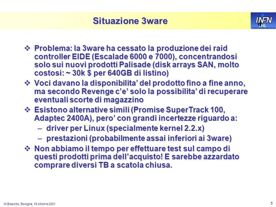 LNL M.Biasotto, Bologna, 18 ottobre 2001 5 Situazione 3ware Problema: la 3ware ha cessato la produzione dei raid controller EIDE (Escalade 6000 e 7000), concentrandosi solo sui nuovi prodotti Palisade (disk arrays SAN, molto costosi: ~ 30k $ per 640GB di listino) Problema: la 3ware ha cessato la produzione dei raid controller EIDE (Escalade 6000 e 7000), concentrandosi solo sui nuovi prodotti Palisade (disk arrays SAN, molto costosi: ~ 30k $ per 640GB di listino) Voci davano la disponibilita del prodotto fino a fine anno, ma secondo Revenge ce solo la possibilita di recuperare eventuali scorte di magazzino Voci davano la disponibilita del prodotto fino a fine anno, ma secondo Revenge ce solo la possibilita di recuperare eventuali scorte di magazzino Esistono alternative simili (Promise SuperTrack 100, Adaptec 2400A), pero con grandi incertezze riguardo a: Esistono alternative simili (Promise SuperTrack 100, Adaptec 2400A), pero con grandi incertezze riguardo a: –driver per Linux (specialmente kernel 2.2.x) –prestazioni (probabilmente assai inferiori ai 3ware) Non abbiamo il tempo per effettuare test sul campo di questi prodotti prima dellacquisto.