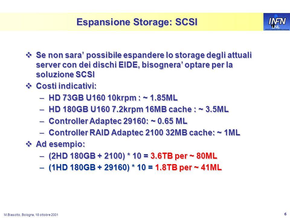 LNL M.Biasotto, Bologna, 18 ottobre 2001 6 Espansione Storage: SCSI Se non sara possibile espandere lo storage degli attuali server con dei dischi EIDE, bisognera optare per la soluzione SCSI Se non sara possibile espandere lo storage degli attuali server con dei dischi EIDE, bisognera optare per la soluzione SCSI Costi indicativi: Costi indicativi: –HD 73GB U160 10krpm : ~ 1.85ML –HD 180GB U160 7.2krpm 16MB cache : ~ 3.5ML –Controller Adaptec 29160: ~ 0.65 ML –Controller RAID Adaptec 2100 32MB cache: ~ 1ML Ad esempio: Ad esempio: –(2HD 180GB + 2100) * 10 = 3.6TB per ~ 80ML –(1HD 180GB + 29160) * 10 = 1.8TB per ~ 41ML