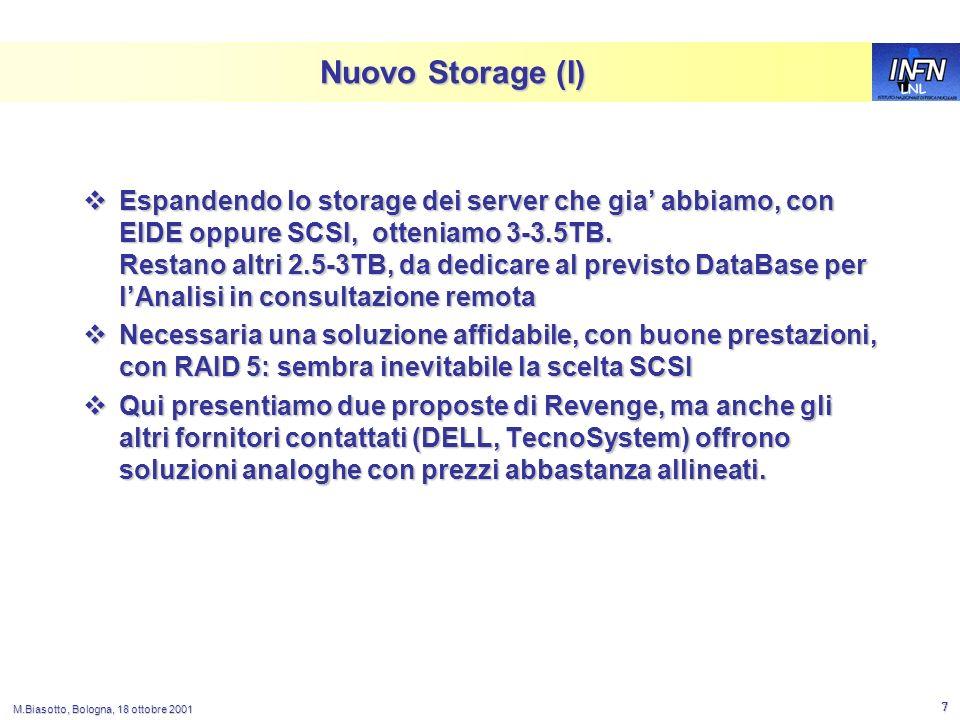 LNL M.Biasotto, Bologna, 18 ottobre 2001 7 Nuovo Storage (I) Espandendo lo storage dei server che gia abbiamo, con EIDE oppure SCSI, otteniamo 3-3.5TB.