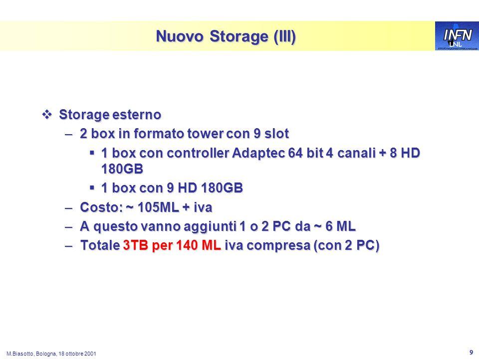 LNL M.Biasotto, Bologna, 18 ottobre 2001 9 Nuovo Storage (III) Storage esterno Storage esterno –2 box in formato tower con 9 slot 1 box con controller Adaptec 64 bit 4 canali + 8 HD 180GB 1 box con controller Adaptec 64 bit 4 canali + 8 HD 180GB 1 box con 9 HD 180GB 1 box con 9 HD 180GB –Costo: ~ 105ML + iva –A questo vanno aggiunti 1 o 2 PC da ~ 6 ML –Totale 3TB per 140 ML iva compresa (con 2 PC)