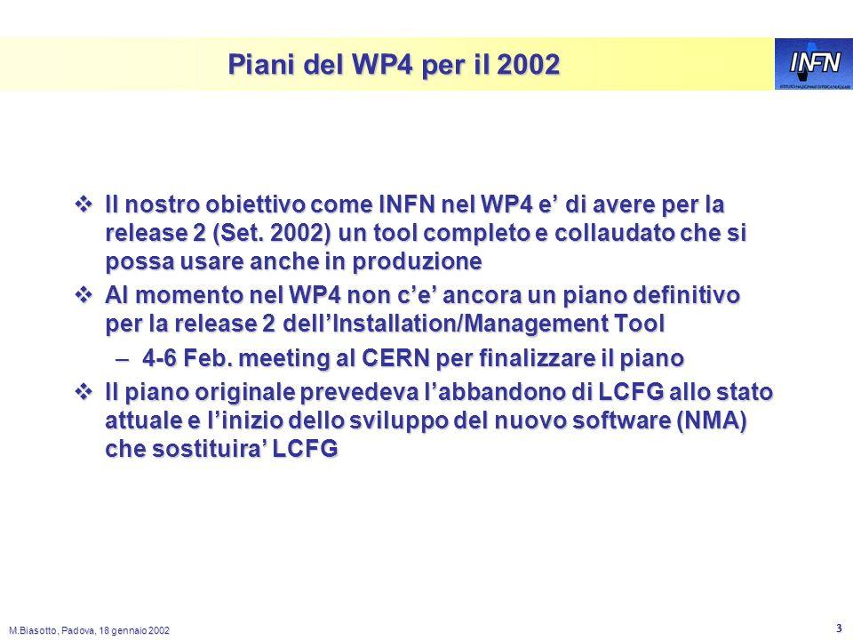 M.Biasotto, Padova, 18 gennaio 2002 2 LCFG nel Testbed 1 Lesperienza e stata abbastanza positiva ed LCFG si e dimostrato utile per avere uninstallazio