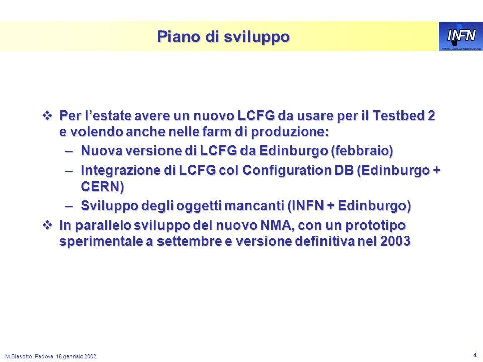M.Biasotto, Padova, 18 gennaio 2002 3 Piani del WP4 per il 2002 Il nostro obiettivo come INFN nel WP4 e di avere per la release 2 (Set. 2002) un tool