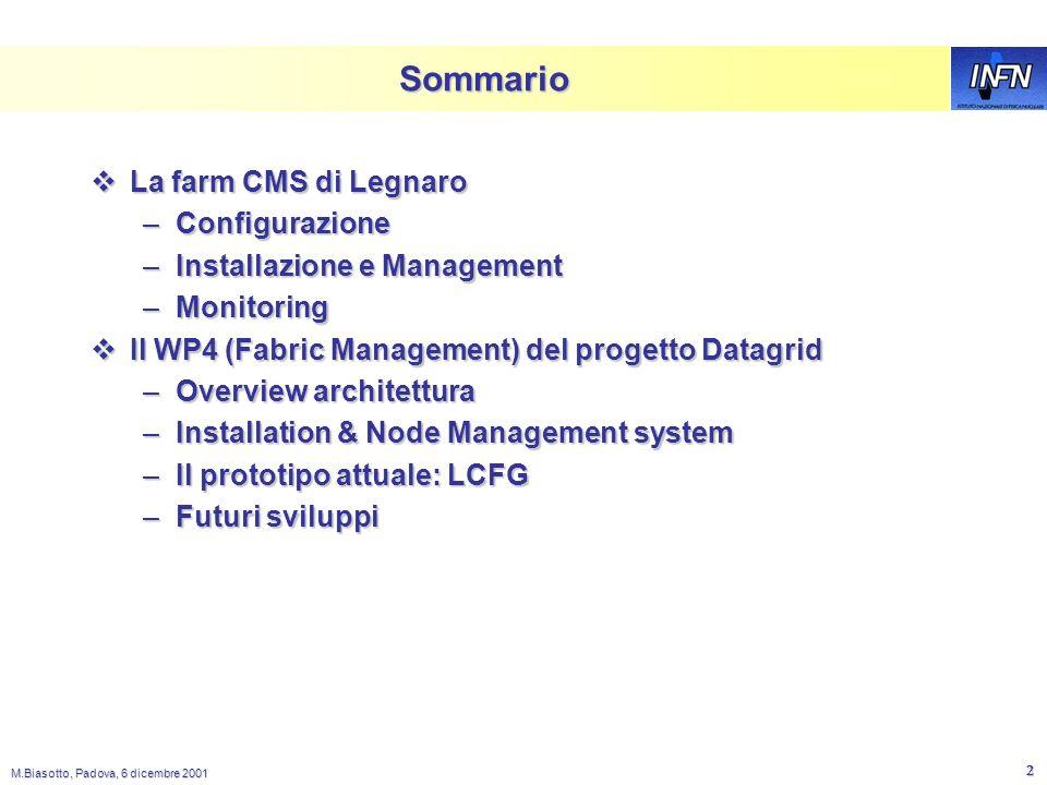 M.Biasotto, Padova, 6 dicembre 2001 1 Esperienze con la farm CMS a LNL e prospettive del WP4 di DataGrid Massimo Biasotto - LNL