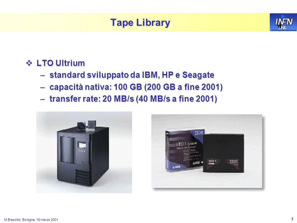 LNL M.Biasotto, Bologna, 19 marzo 2001 5 Tape Library LTO Ultrium LTO Ultrium –standard sviluppato da IBM, HP e Seagate –capacità nativa: 100 GB (200 GB a fine 2001) –transfer rate: 20 MB/s (40 MB/s a fine 2001)