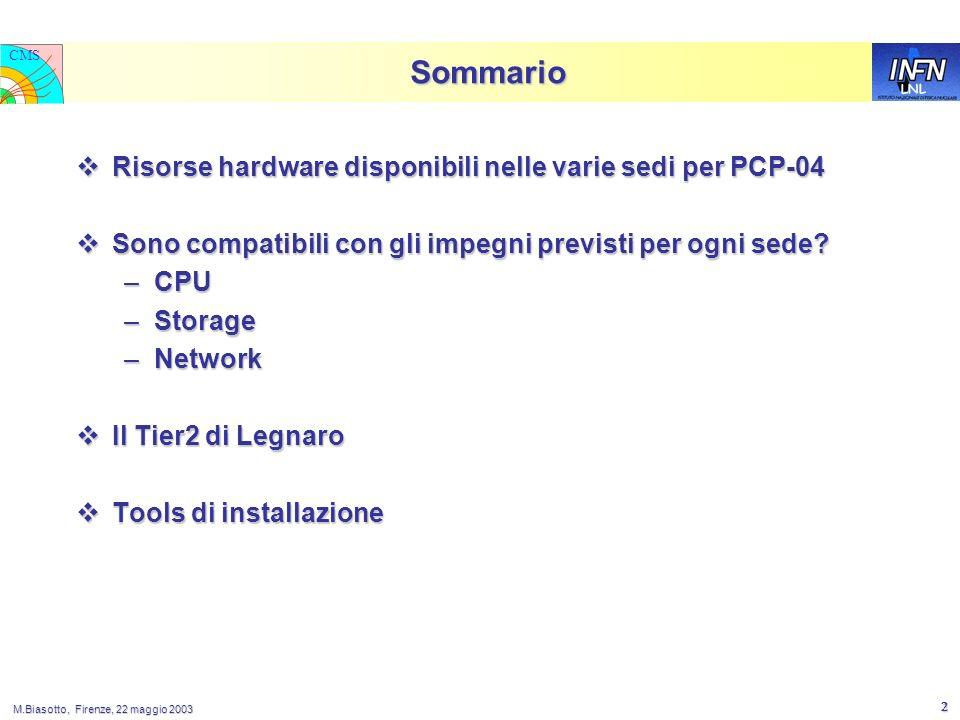 LNL CMS M.Biasotto, Firenze, 22 maggio 2003 2 Sommario Risorse hardware disponibili nelle varie sedi per PCP-04 Risorse hardware disponibili nelle varie sedi per PCP-04 Sono compatibili con gli impegni previsti per ogni sede.