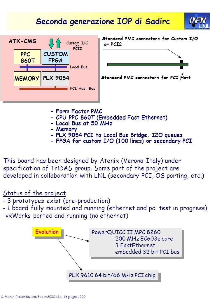 LNL G. Maron, Presentazione Sadirc2000, LNL, 16 giugno 1999 Seconda generazione IOP di Sadirc Local Bus PPC 860T CUSTOM FPGA MEMORY PLX 9054 Custom I/