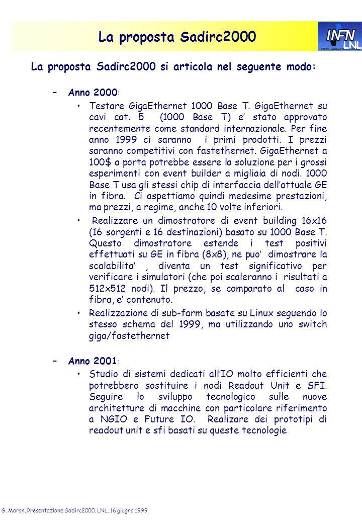 LNL G. Maron, Presentazione Sadirc2000, LNL, 16 giugno 1999 La proposta Sadirc2000 La proposta Sadirc2000 si articola nel seguente modo: –Anno 2000 :