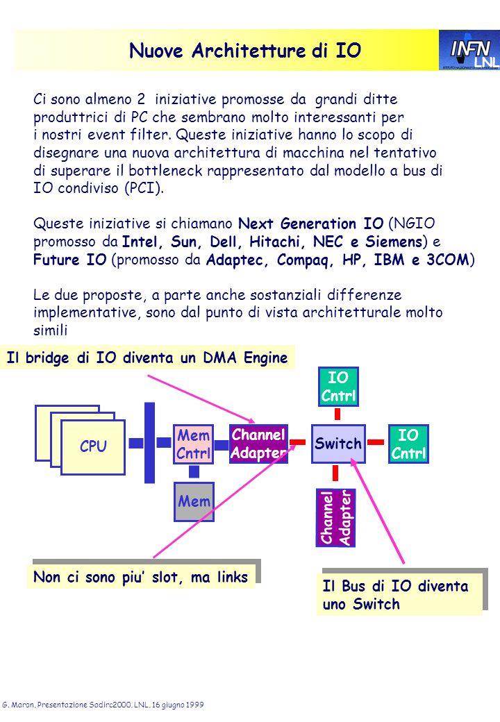 LNL G. Maron, Presentazione Sadirc2000, LNL, 16 giugno 1999 Nuove Architetture di IO Ci sono almeno 2 iniziative promosse da grandi ditte produttrici