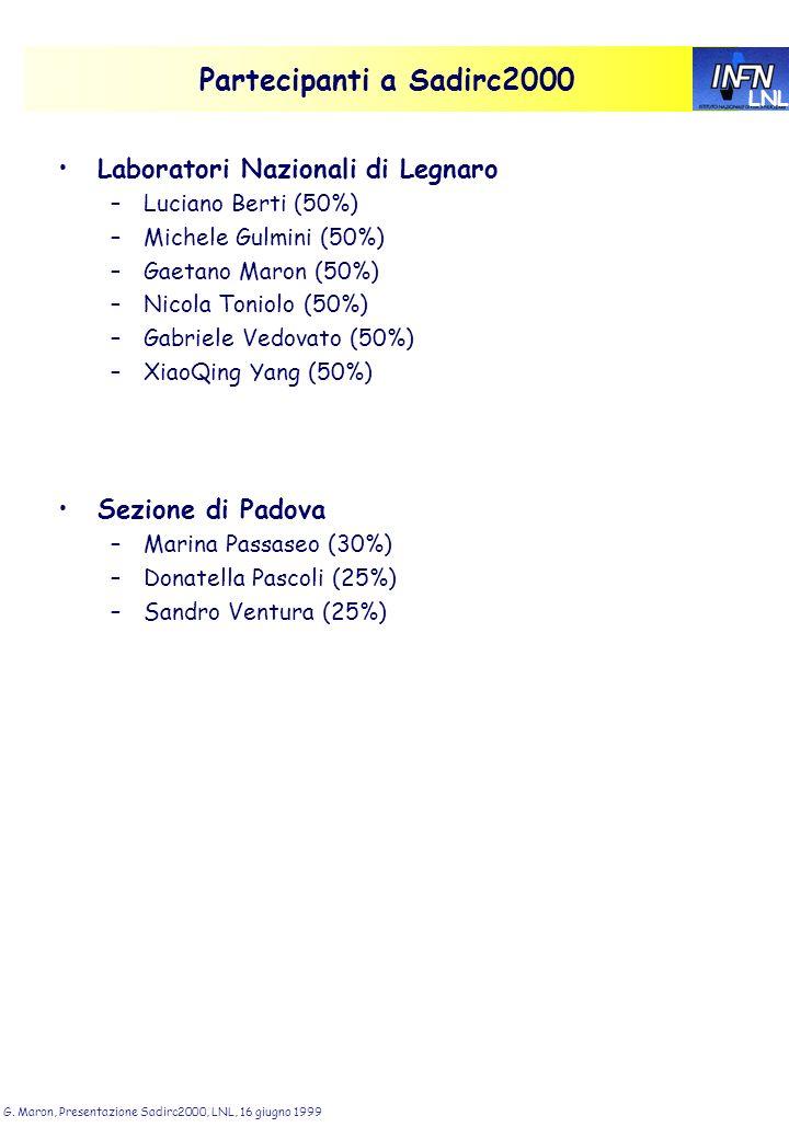 LNL G. Maron, Presentazione Sadirc2000, LNL, 16 giugno 1999 Partecipanti a Sadirc2000 Laboratori Nazionali di Legnaro –Luciano Berti (50%) –Michele Gu