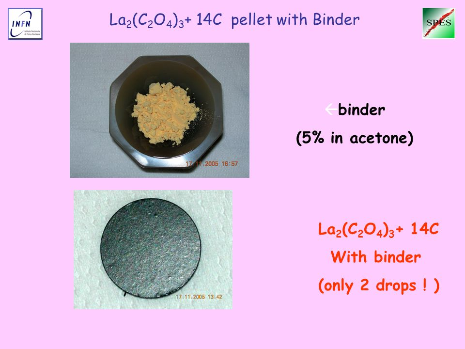 La 2 (C 2 O 4 ) 3 + 14C pellet with Binder La 2 (C 2 O 4 ) 3 + 14C With binder (only 2 drops ! ) binder (5% in acetone)