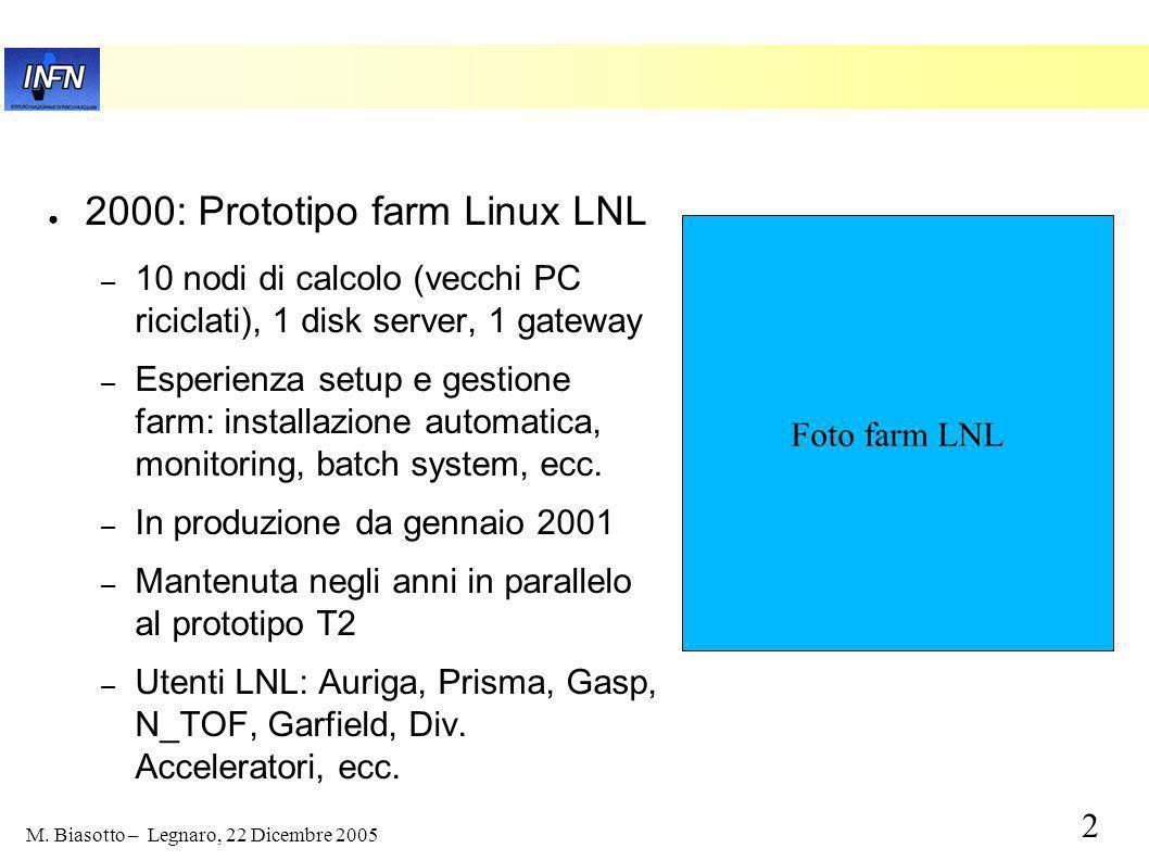1 M. Biasotto – Legnaro, 22 Dicembre 2005 Prototipo Tier 2 di Legnaro-Padova INFN Legnaro