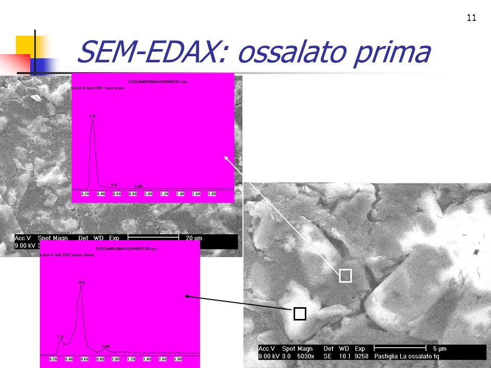 11 SEM-EDAX: ossalato prima