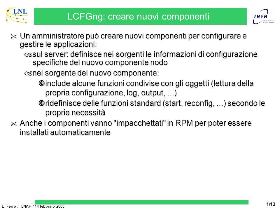 E. Ferro / CNAF / 14 febbraio 2003 1/13 LCFGng: creare nuovi componenti Un amministratore può creare nuovi componenti per configurare e gestire le app