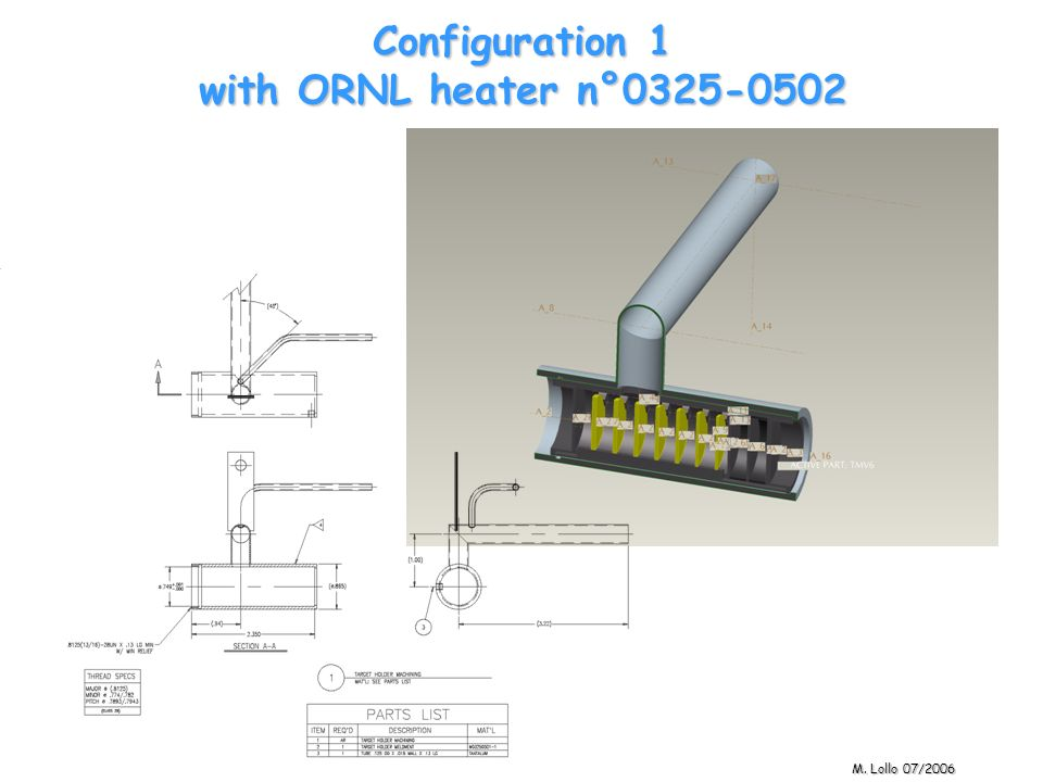 Configuration 1 with ORNL heater n°0325-0502 M. Lollo 07/2006