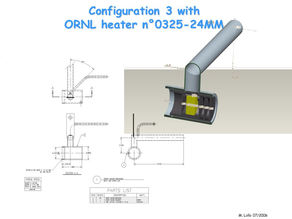 Configuration 3 with ORNL heater n°0325-24MM M. Lollo 07/2006