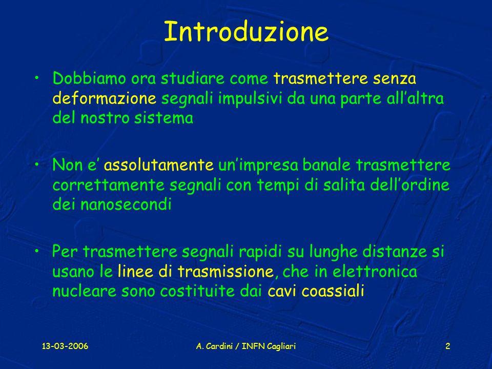13-03-2006A. Cardini / INFN Cagliari2 Introduzione Dobbiamo ora studiare come trasmettere senza deformazione segnali impulsivi da una parte allaltra d