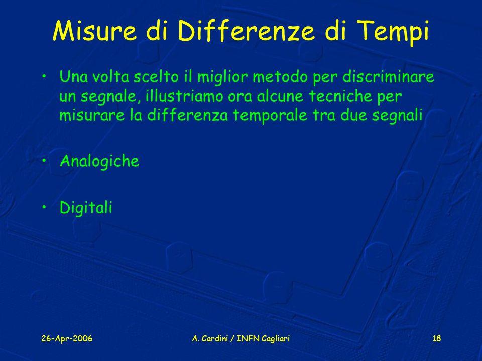 26-Apr-2006A. Cardini / INFN Cagliari18 Misure di Differenze di Tempi Una volta scelto il miglior metodo per discriminare un segnale, illustriamo ora