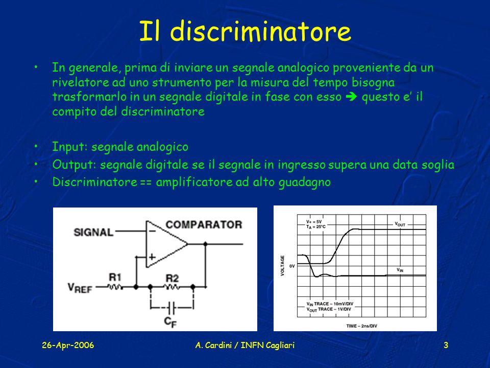 26-Apr-2006A. Cardini / INFN Cagliari3 Il discriminatore In generale, prima di inviare un segnale analogico proveniente da un rivelatore ad uno strume